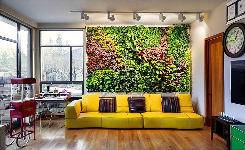 Jardines verticales o paredes verdes interiores